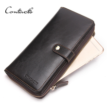 CONTACT'S Genuine Leather Men Wallets Hasp Zipper Design Business Male Wallet Fashion Purse Card Holder Mobile Phone Long Clutch(China (Mainland))