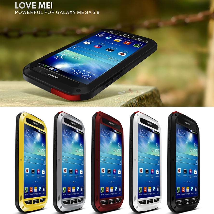 Metal Phone Case For Samsung Galaxy MEGA 5.8 Case Cover Waterproof Shockproof With Gorilla Glass Aluminum Phone Housing