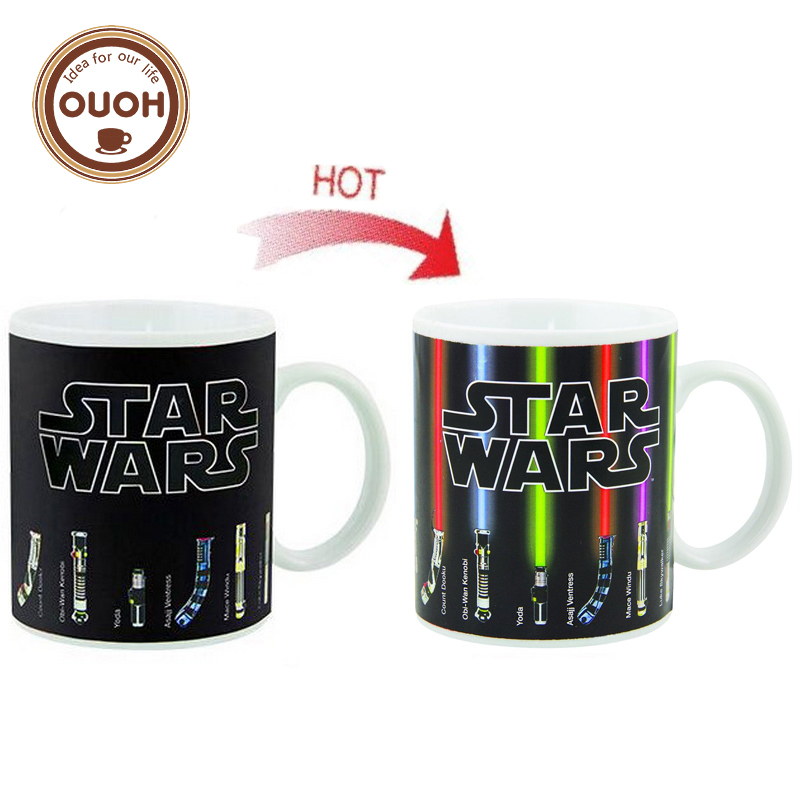 Promotion Star Wars Lightsaber Heat Reveal Mug Color Change Coffee Cup Sensitive Morphing Mugs Temperature Sensing Birthday Gift(China (Mainland))