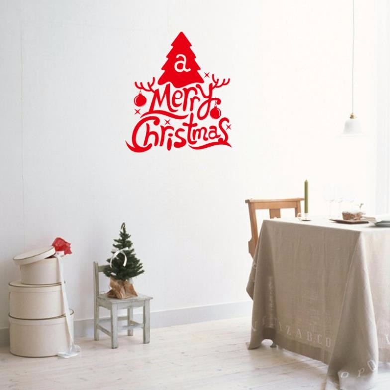 creative Christmas tree Merry Christmas quotes PVC diy wall stickers for kids room living room home decor 3d Vinyl wall decal &%(China (Mainland))