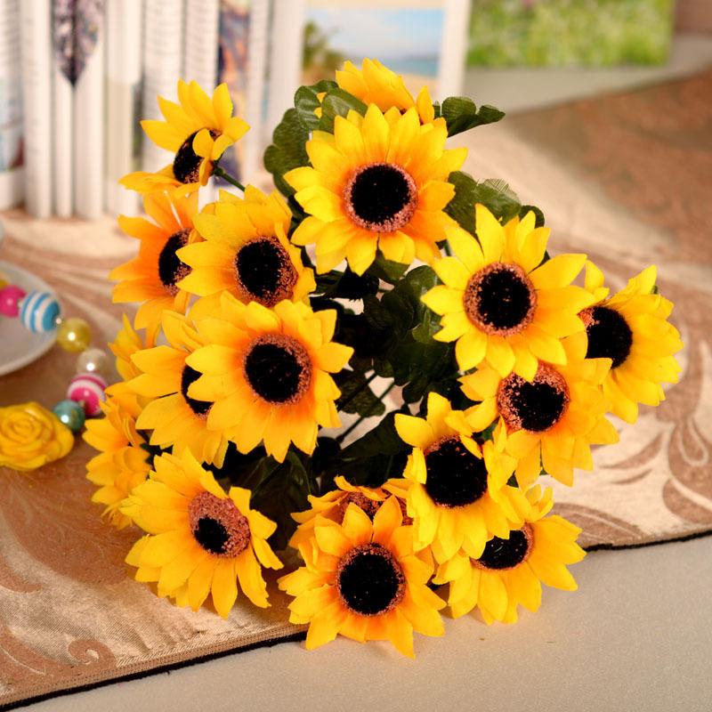18head pcs sunflower silk artificial flowers fake flower for Artificial flowers decoration ideas