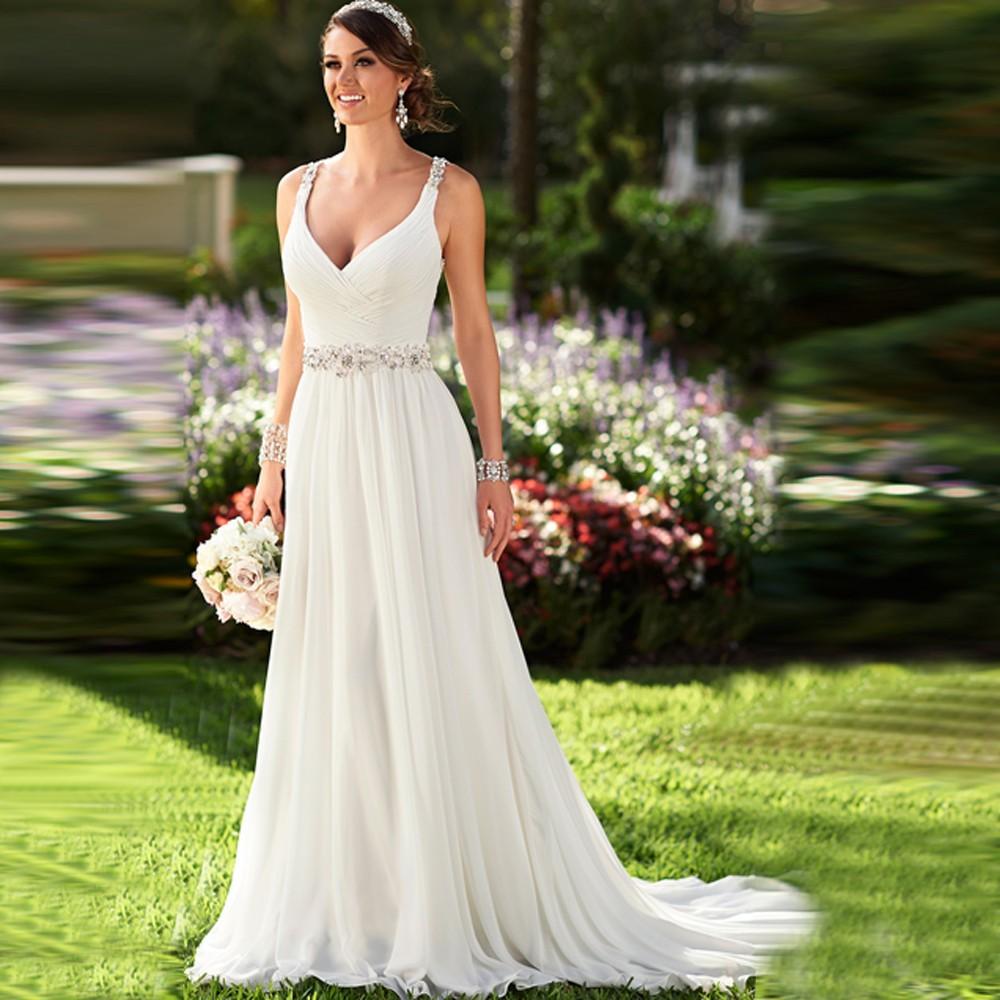 Wedding Gown Chiffon: Charming Plunging Neckline Chiffon Beach Wedding Dresses