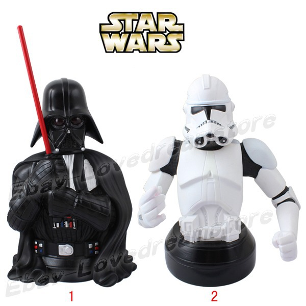 FREE SHIPPING Japanese Animation Star Wars W&amp;B Storm-trooper/Darth Vader 20cm-21cm Coin Money Bank PVC Figure No Box<br><br>Aliexpress