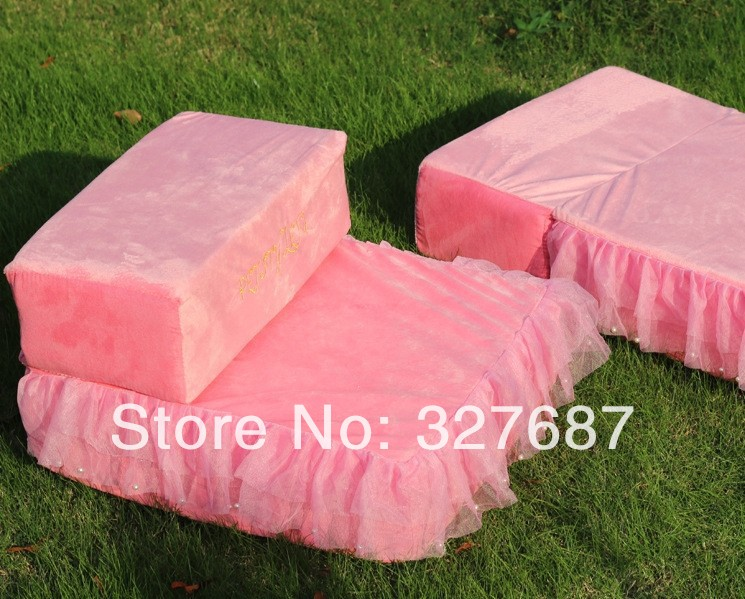Discount FREE SHIPPING! Dog Princess Luxury Bed Pink Color Dog Cover Pet Dog House Kennel 2014 New Design 1pcs/lot(China (Mainland))