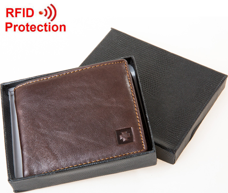 Free shipping 2015 new stylish RFID BLOCKING Men wallet+ genuine cow Leather + Bifold Purse with coin pocket+ RFID protection F1(China (Mainland))