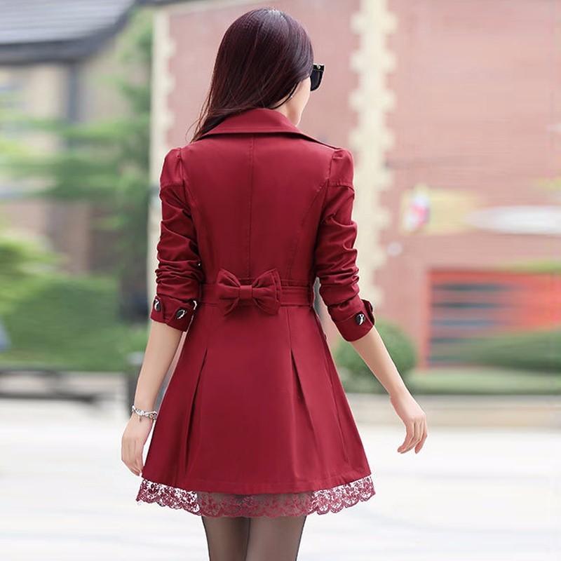 Wine Red Lace Long Women Trench Coat Female Outwear Coat Turn Down Overcoat