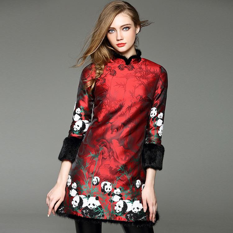 2016 Hot Sale Jacquard Winter Classical Vintage Dress Women Pankou Cheongsam Vestidos Panda Chinese Style Anti-scratch DressesОдежда и ак�е��уары<br><br><br>Aliexpress