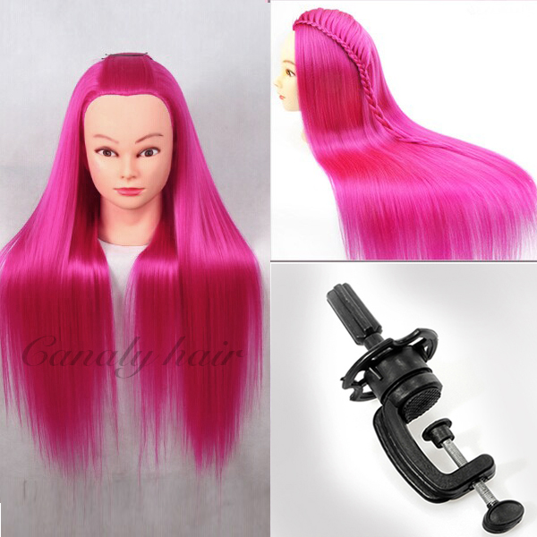 Red 22quot; yaki straight hair professional styling Doll heads