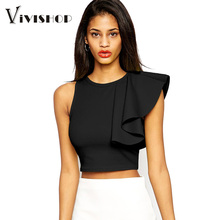 Women Tops And Blouses 2016 New Fashion Sexy Crop Top One Shoulder Ruffle O Neck Sleeveless Fitness Cropped Top Black/Yellow(China (Mainland))