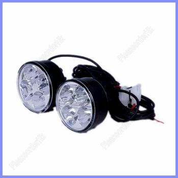 2x Round 4-LED White 4W Car Auto Vehicle Daytime Running Light Lamp Waterproof Free Shipping