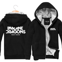 Imagine Dragons Winter New Mens Hoodies Sweatshirts Fashion Cardigan Thickening Plus Velvet Jacket Cotton Hoody Coat - -HOOK-ON-YOU- Store store