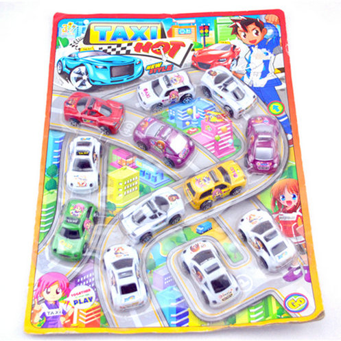 12Pcs Pull Back Vehicle Mini Taxi Colors Plastic Cars Model Collection Gift Toy(China (Mainland))