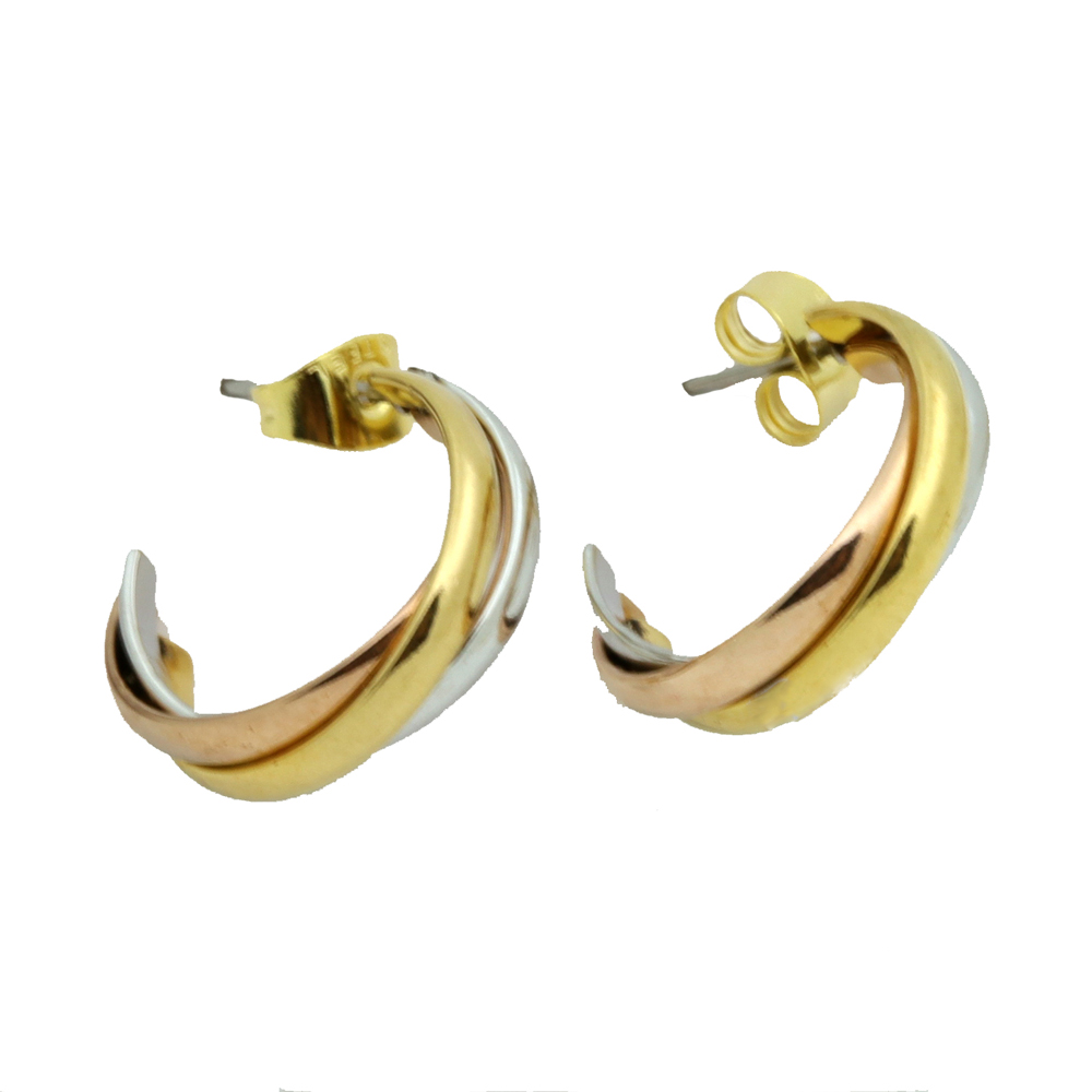 Top Quality Classical 3 Rounds 18K Rose Yellow White Gold Gold Plated Stud Earrings Fashion Jewelry Lover Earrings Wholesale
