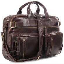 100 Cow Genuine Leather Men Briefcase Business Handbag Shoulder Tote Bags For Laptop Computer Casual Travel