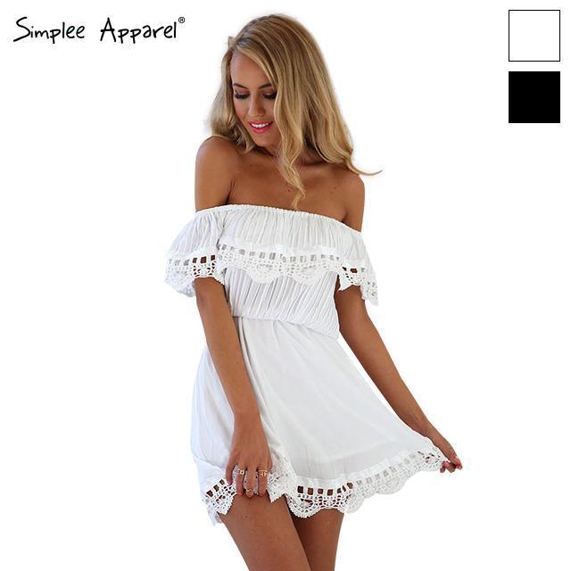 Simplee одежды 2016 Новый стиль лето женщины белые кружева шить платье-плеча без бретелек сексуальное платье слэш-образным вырезом мини платья