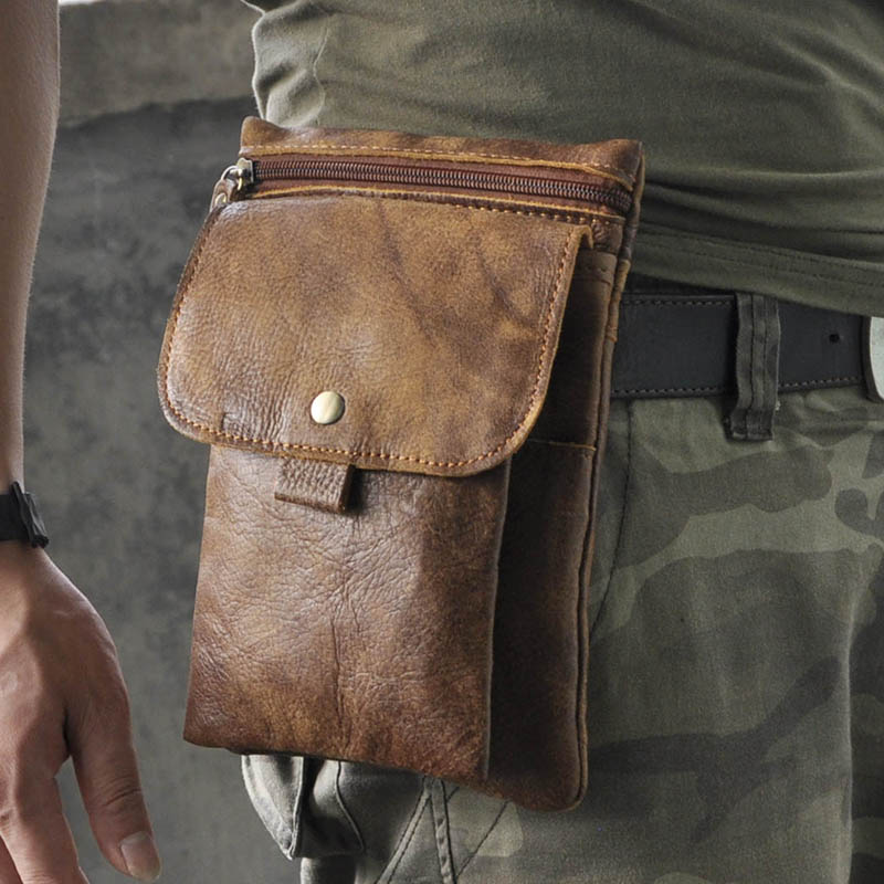 Hot Sale Top Quality Genuine Real Leather Cowhide men vintage Messenger Bag Pouch Waist Pack Bag(China (Mainland))