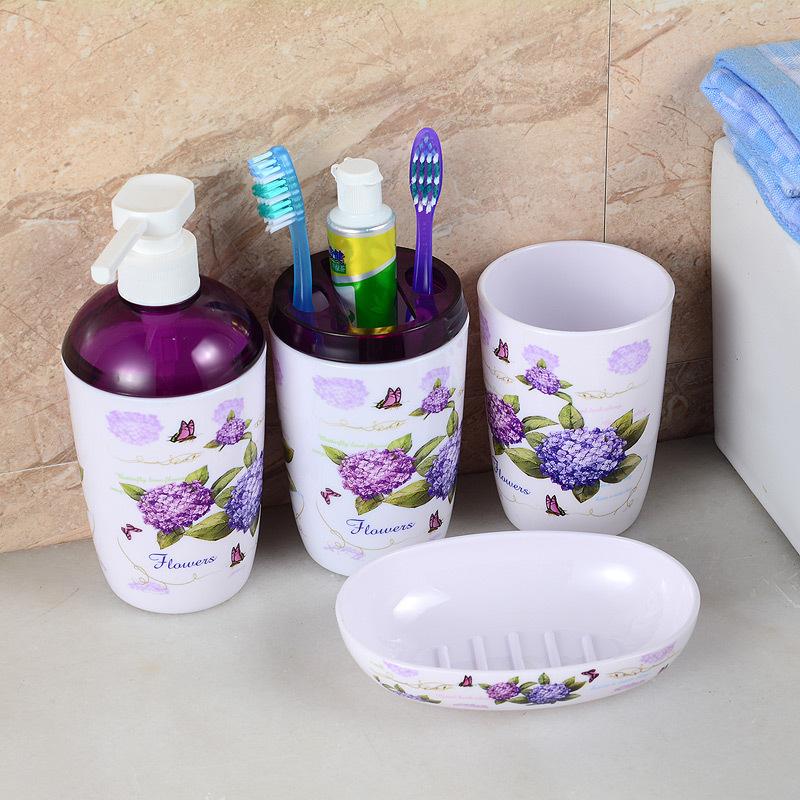 Fashion Flower Round Toothbrush Holder Rack Environmental Gargle Plastic Four-piece Luxury Bathroom Bath Set Accessories Sets(China (Mainland))