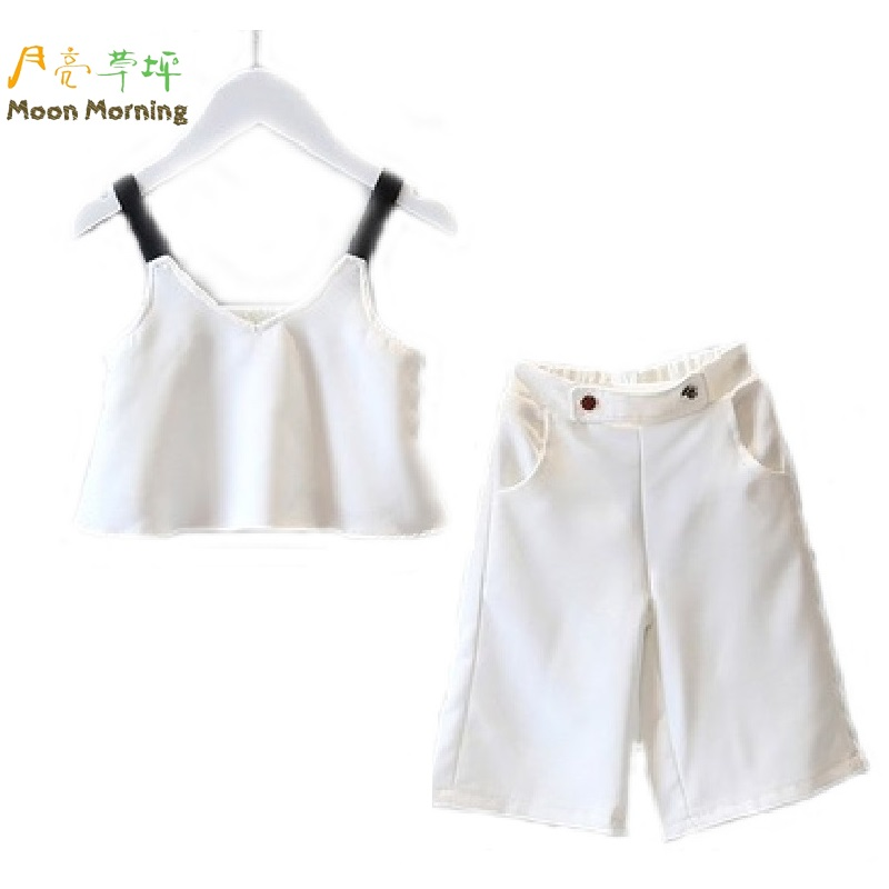 Moon Morning Girls Clothing Set Polyester 2T~8T White Cool Solid Sleeveless Meisjes Clothes New Branded Fashion Quaity Garment(China (Mainland))