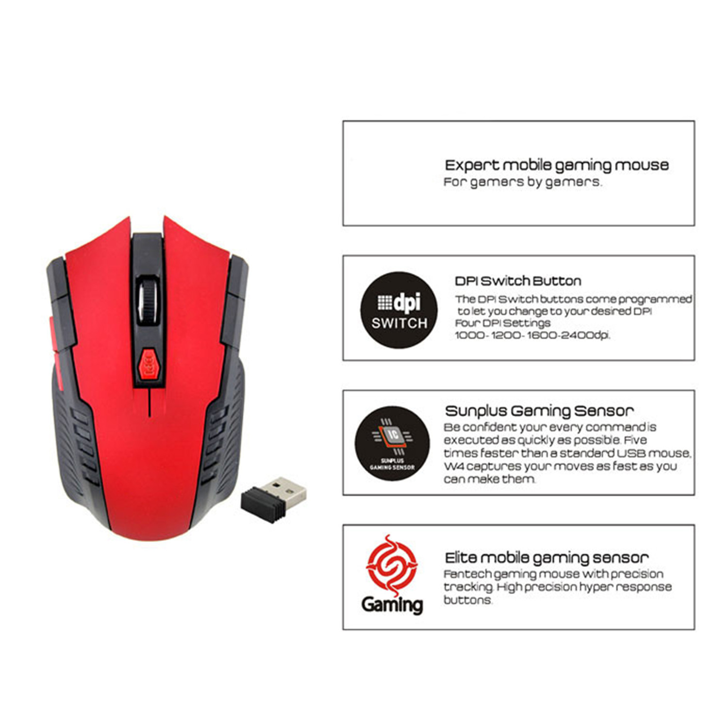 Best 2.4Ghz Mini portable Wireless Optical Gaming Mouse Mice Professional Gamer Mouse For PC Laptop Desktop New Hot Worldwide