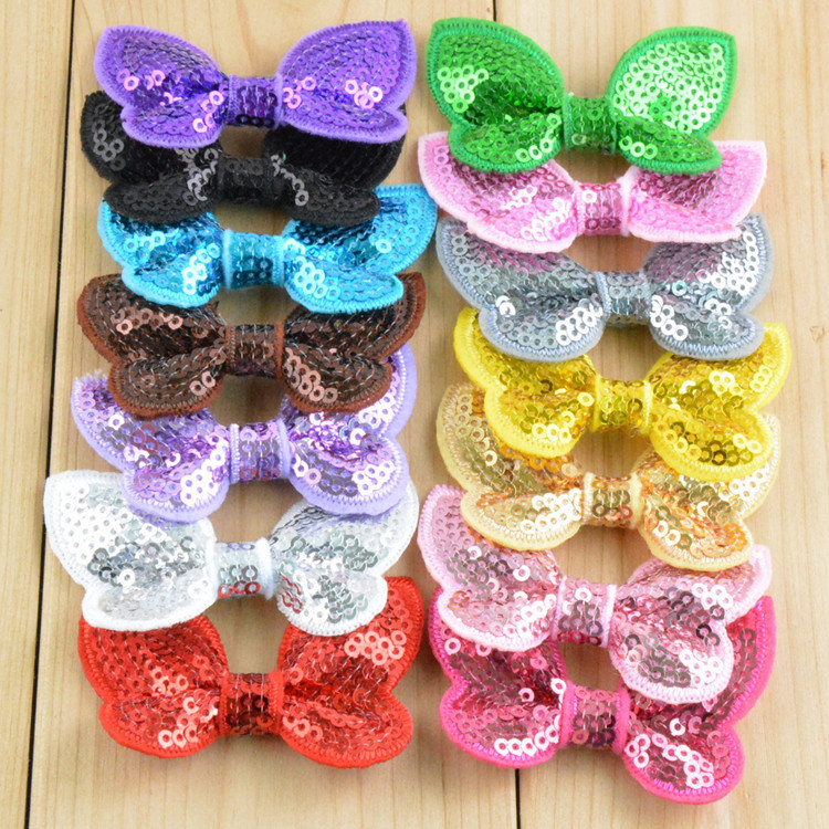 baby girl sequin bow DIY handmade Bow Knot for Christmas headband Baby Girl boutique shoes dress/hair accessories 1200pcs/lot(China (Mainland))