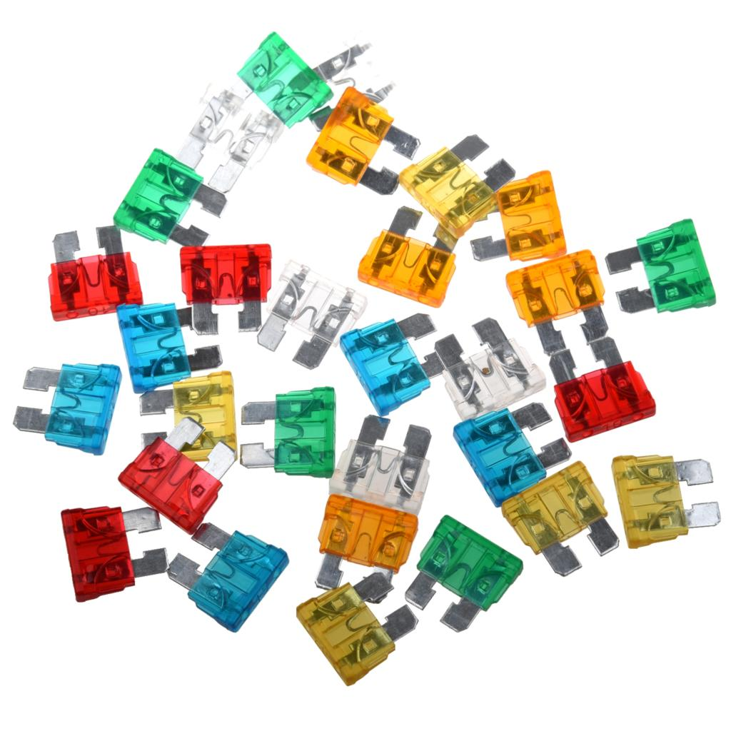 Hot Sale! 30Pcs Standard Auto Blade Fuse for Car 5 10 15 20 25 30 AMP Mixed