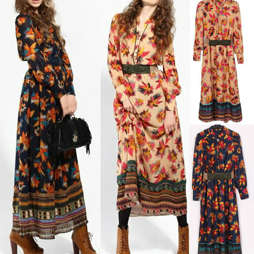 Fashion bohemian style maxi dresses stand up collar long sleeve