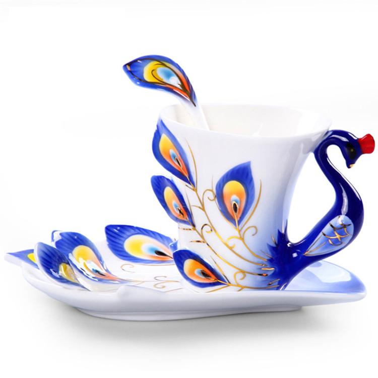 Peacock Mugs Ceramic Painting Creative Bone China 3D Color Emamel Porcelain Saucer Spoon Coffee Tea Sets Christmas Gift(China (Mainland))