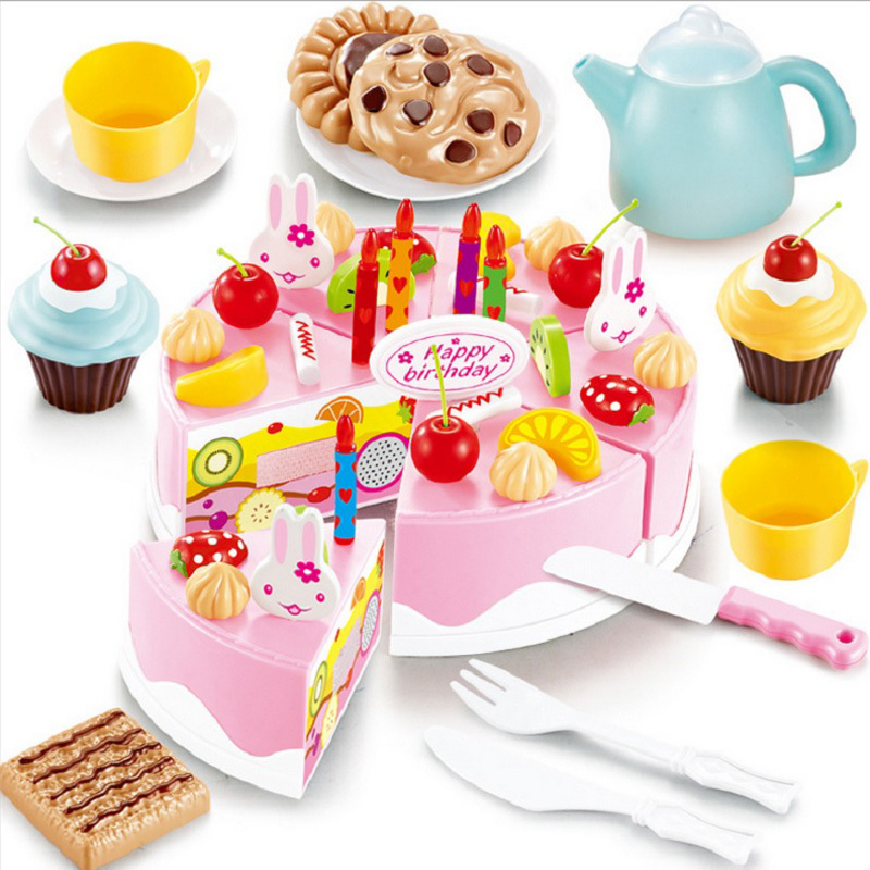 54pcs DIY Cutting Birthday Cake Children Kids Baby Early Educational Classic Toy Pretend Play Kitchen Food Plastic Toy(China (Mainland))