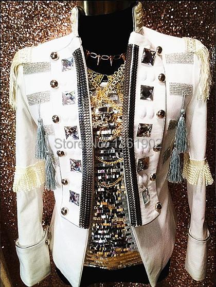 Plus Custom made Tuxedo white Crystal men ds dj male singer performance outerwear blazer costume show rhinestone jacket outfit(China (Mainland))