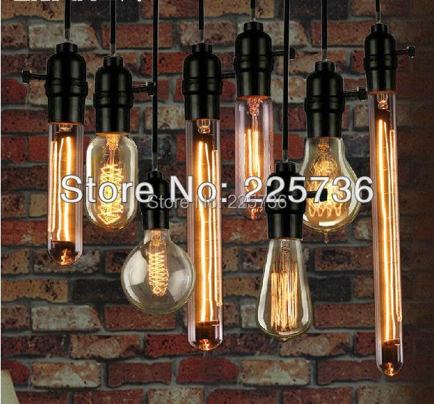... (8pcs/set)nostalgic vintage american pendant light carbon filament  light bulb creative hanging ...