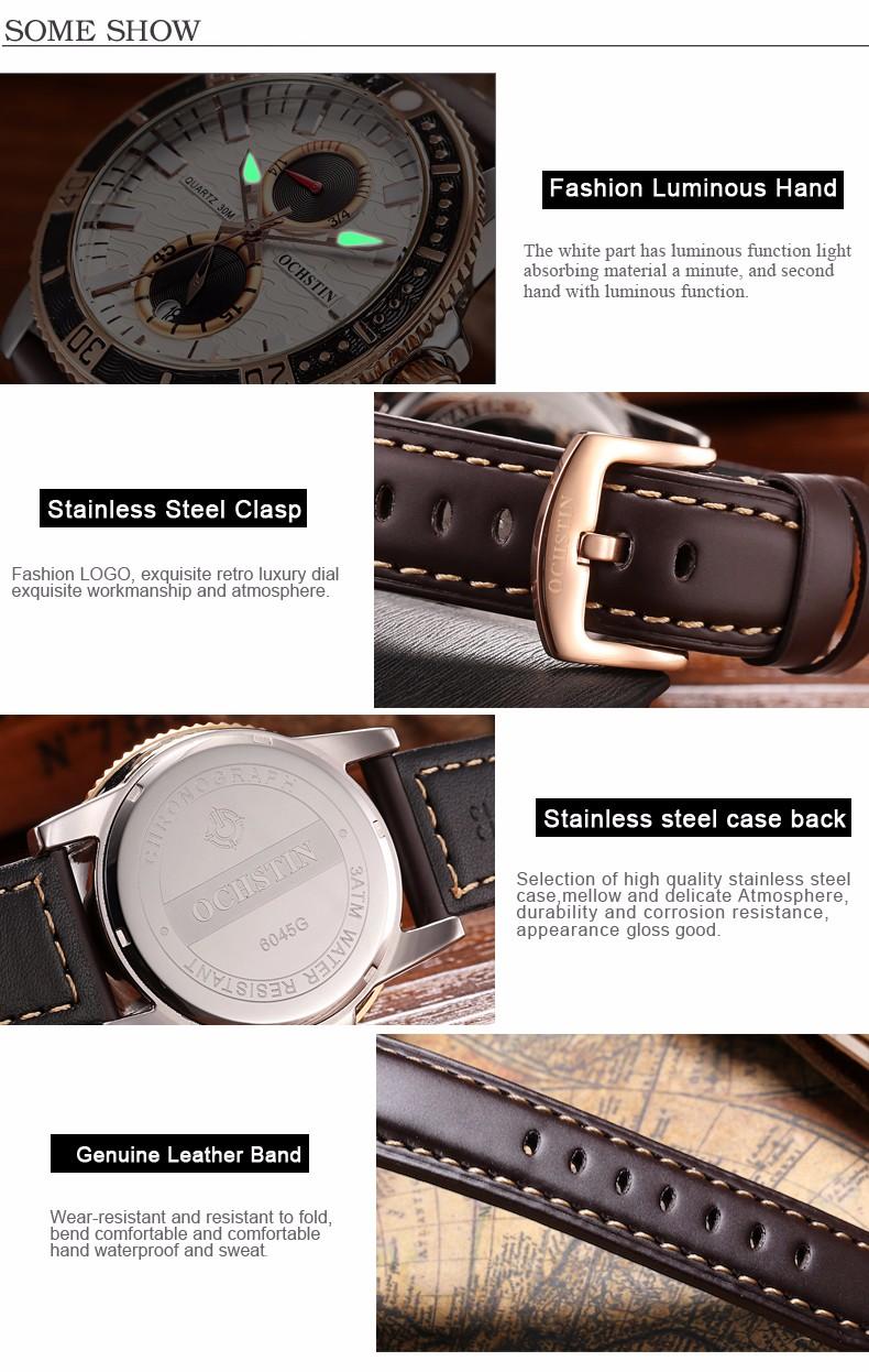 Мужская мода Кварцевые Часы 2016 Новый многофункциональный Повседневная Спорт Мужчины Смотреть Натуральная Кожа Пояса Световой мужская часы