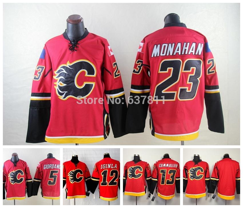 New Men's Calgary Flames 5 Mark Giordano Hockey Jerseys 12 Jarome Iginla 23 Sean Monahan Jersey Home Johnny Gaudreau Stitched Je