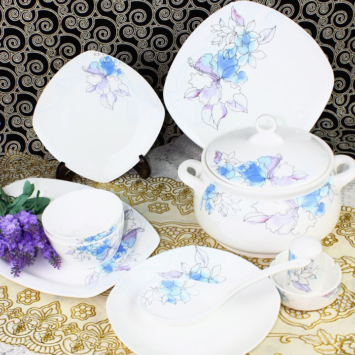 Luxury arts tableware Jingdezhen ceramic avowedly 56pcs/set quality china dinner set square full dinnerare set in(China (Mainland))