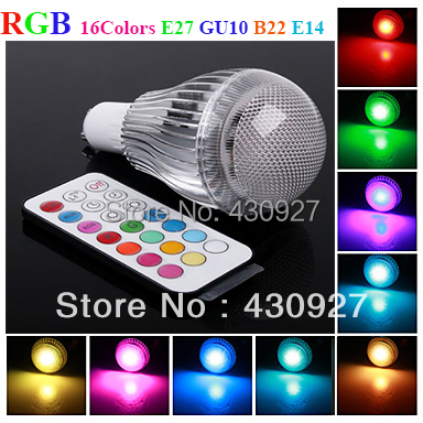 10pcs 16 Colors RGB LED Lamps 3W GU10 E27 E14 B22 Changeable Colorful Light LED Globe Lights Bulbs Lamps with IR Remote Control<br><br>Aliexpress