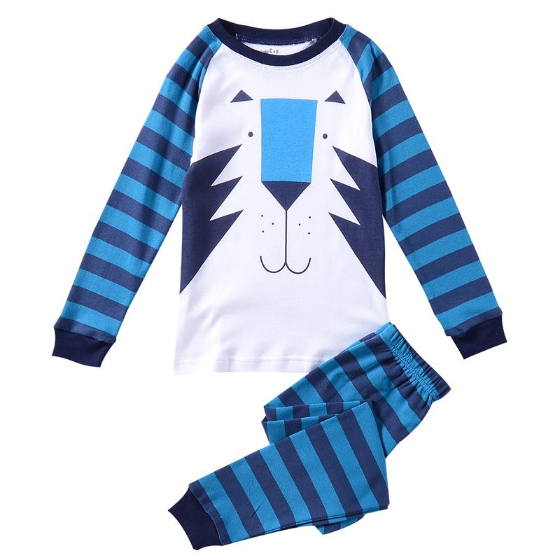 Cute Blue Tiger Striped Boy Pajamas Set Cotton Kids Pyjamas Pijamas Set Long Sleeved Winter Boy Pyjamas Sets Boys Sleepwear