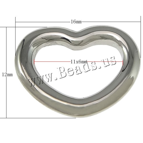 Free shipping!!!304 Stainless Steel Linking Ring,Cheap Jewelry, Heart, oril color, 16x12x2mm, Hole:Approx 11x6mm, 50PCs/Lot(China (Mainland))