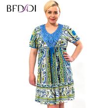 BFDADI 2016 новые летние платья свободного покроя женщины одеваются печать сексуальное модное платье Большой размер с короткими рукавами v-обра...(China (Mainland))