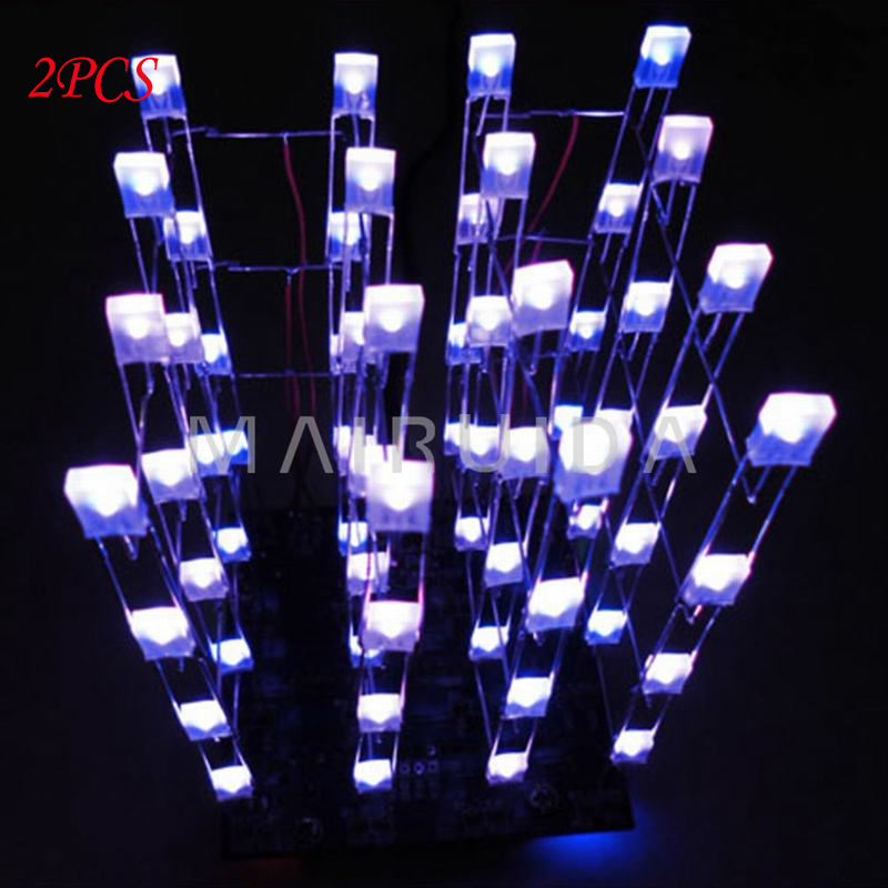 2PCS Blue Ray 3D LED LightSquared 4x4x4 2*5*7MM LED Cube LED Blue Ray(China (Mainland))