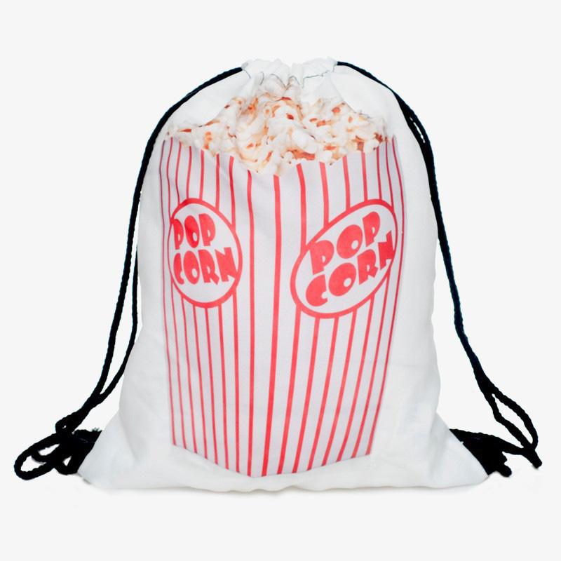 Fashion POP CORN print shopping bags Drawstring pouch American & European designer bag wholesale(China (Mainland))