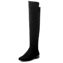 suede Nubuck PU leather Black women Knee High martin boots,2015 winter square flat heel woman point toe Elastic cloth long boots(China (Mainland))
