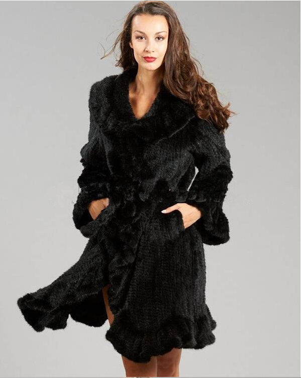 Luxury Design 100% Genuine Knitted Mink Fur Coat Long Womens Warm Ruffle Overcoat Fashion Furs Garment Jackets Outwear Big SizeОдежда и ак�е��уары<br><br><br>Aliexpress