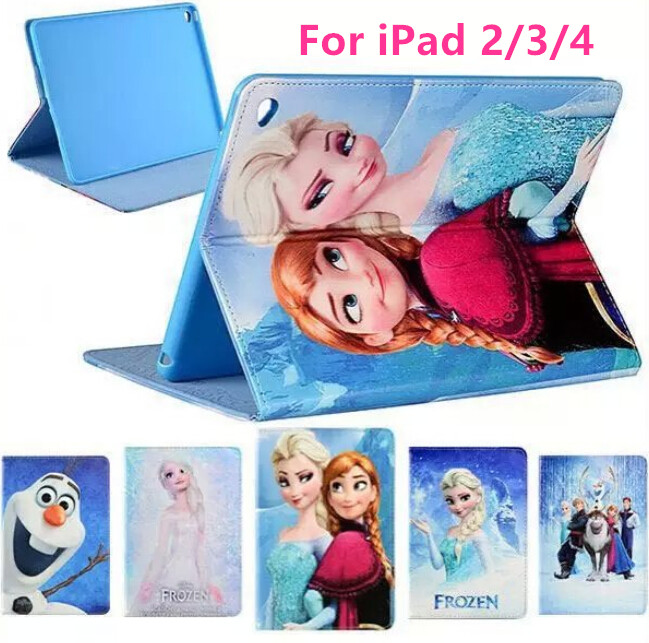 Leather Case Cover For Apple iPad 2/3/4 Case With Stand Lovely Cute Elsa Anna Tablet Case Leather Case for iPad iPad 2/3/4(China (Mainland))