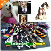 Mixed Style Fashion Polyester Silk Pet Dog Necktie / Pet Coloful Bow Tie (SE-83)