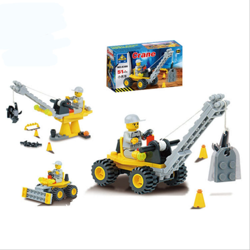 Small Crane City Construction Team DIY Model Car Technic Engineer Building Blocks 51pcs Assemble Bricks Boys Gift Toys(China (Mainland))