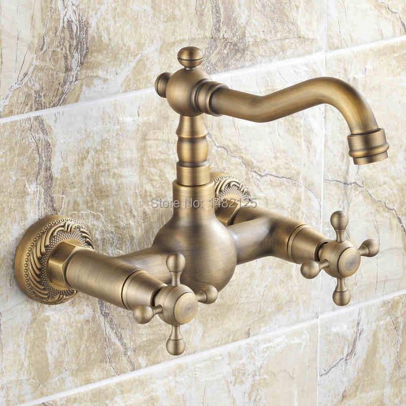 Фотография 2016 Tap Torneiras Top Fashion Promotion Dual Handle Bathroom Faucet Torneira De Banheiro Classic Antique In Wall Basin