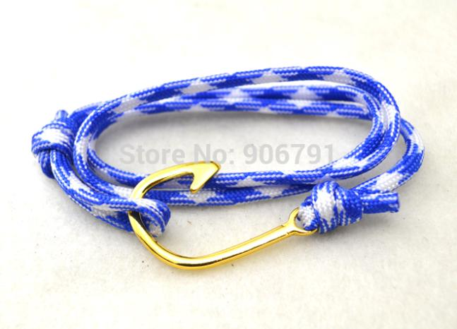 5pcs a lot trendy gold plated fish hook parachute blue and white rope bracelet(China (Mainland))