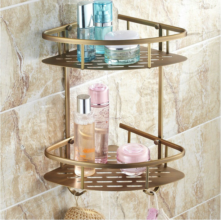 Beelee bl170a antique elegant double shelves brass - Bathroom storage baskets shelves ...