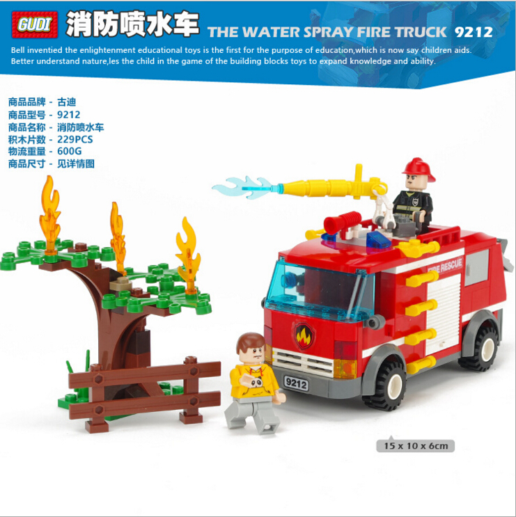 The Water spray fire truck City Minifigures Building Blocks Model Bricks Legoelieds Toys 9212(China (Mainland))