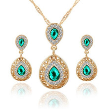 2017 Wedding jewlery sets for women drop earring jewlery set for women red rhinestone crystal jewelry necklace and earrings for(China (Mainland))