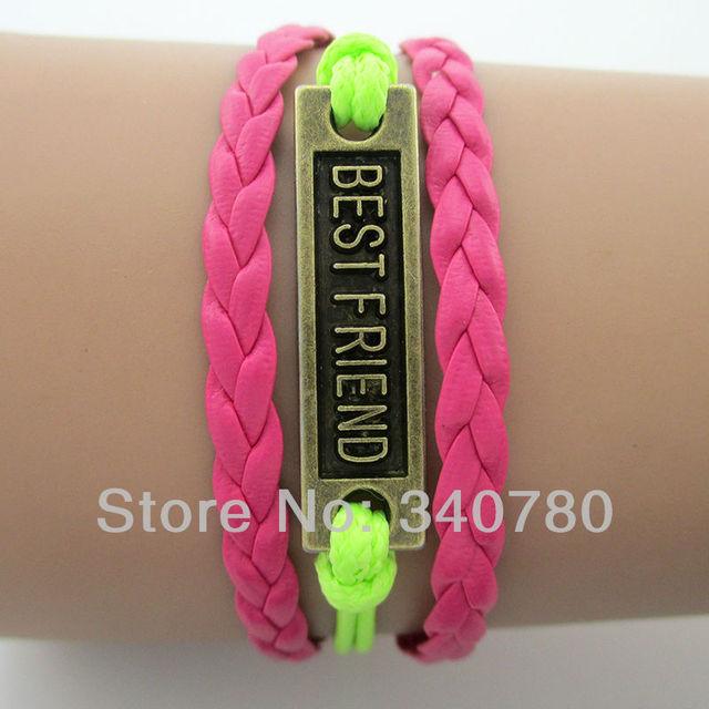 Best friends antique bronze charms bracelets hand-knitted fushia warp leather cords multi-layer bracelets free shipping 1 pcs